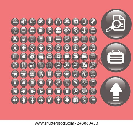 application black glossy round icons, signs, symbols, illustrations set on background, vector - stock vector