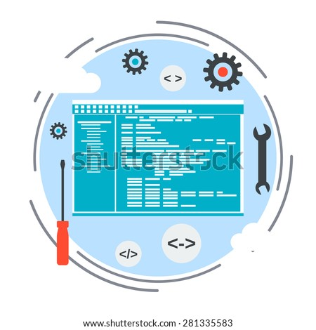 Application development, program coding, SEO process concept. Flat design style web elements collection. - stock vector