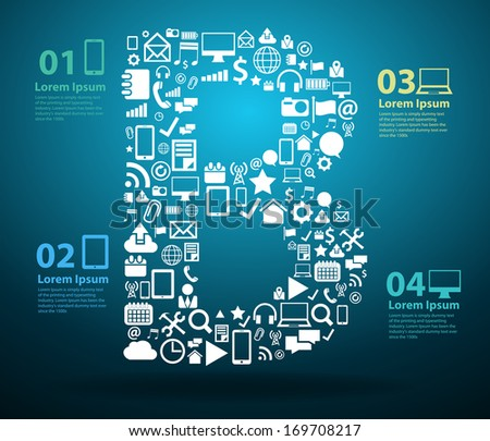 Application icons alphabet letters B design, Technology business software and social media networking online concept, Vector illustration modern template design - stock vector
