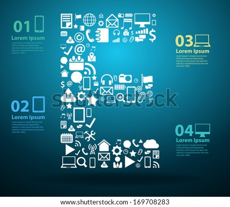 Application icons alphabet letters E design, Technology business software and social media networking online concept, Vector illustration modern template design - stock vector