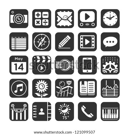 Application icons for smartphone and web. Vector illustration. - stock vector