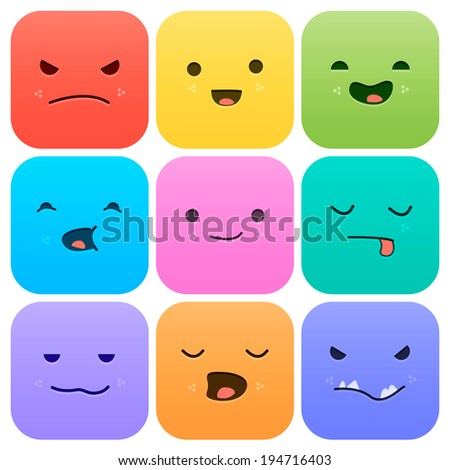 Application icons Set. Cartoon faces with emotions v.1 - stock vector