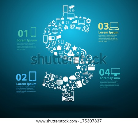 Application icons with US Dollar sign design, Technology business software and social media networking online concept, Vector illustration modern template design  - stock vector