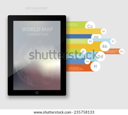 Applications and Online Services Infographic Concept.  IInfographics tablet data. Flat  icons smartphone design infographics. Vector illustration - stock vector