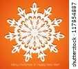 Applique snowflake Christmas card on juicy festive orange background - stock vector