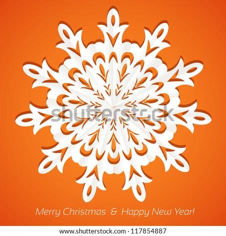 Applique snowflake Christmas card on juicy festive orange background - stock vector