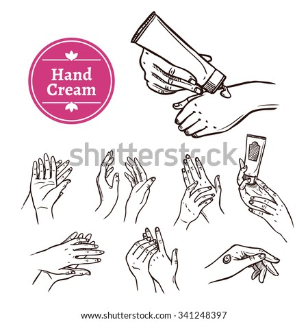 Applying and spreading hand cream from plastic tube black hand drawn icons set abstract isolated vector illustration - stock vector