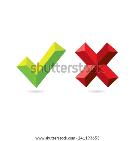 Approval and Decline Check Marks - stock vector