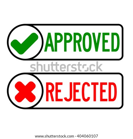 Approve and reject icon on white background - stock vector