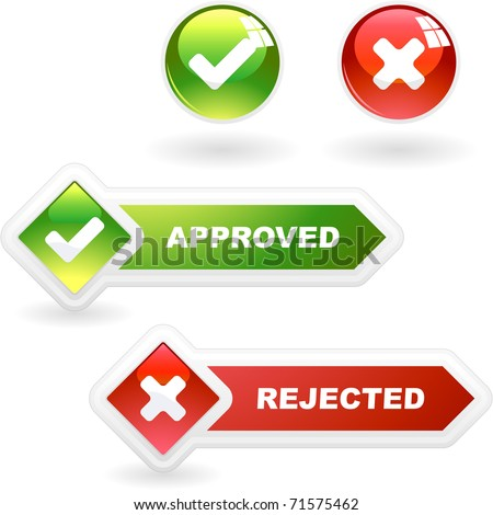 Approved and rejected button set. False and right icon set.  - stock vector