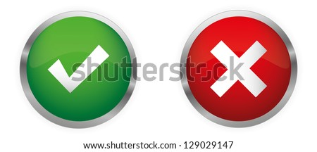 Approved and Rejected Glossy Buttons. Vector set. - stock vector