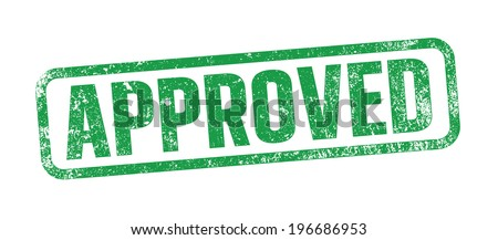 Approved green ink stamp - stock vector