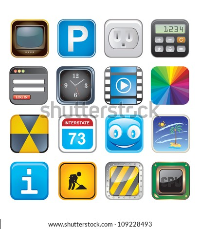 apps icons set three - stock vector