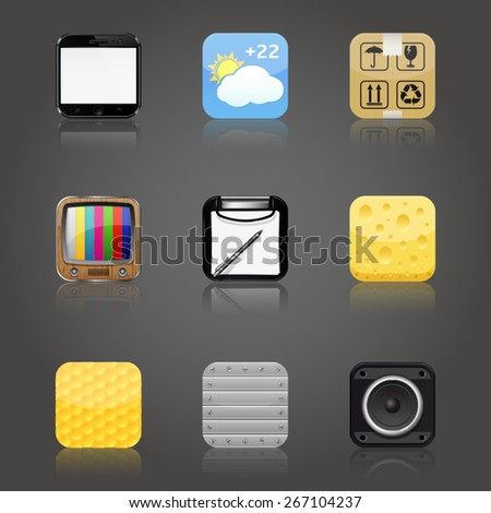 Apps icons with reflection - stock vector