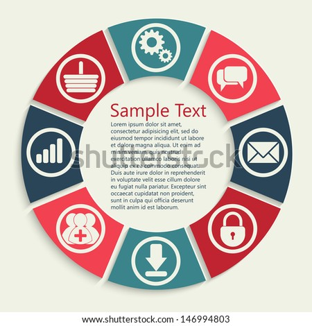 apps processing concept background with icons: lock, gears, reitings, basket, bubbles, mail, downloads, social network group - stock vector
