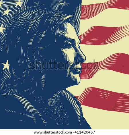 April 26, 2016: A vector illustration showing Democrat presidential candidate Hillary Clinton on national flag background done in hand draw style - stock vector