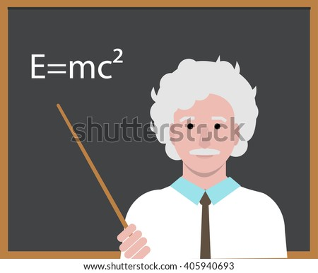 APRIL 14, 2016:  Albert Einstein with pointer presenting Einstein Formula on the blackboard. Cartoon portrait of  scientist and professor isolated, vector editorial illustration.   - stock vector