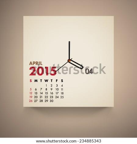 April 2015 Calendar Clock Design Vector  - stock vector