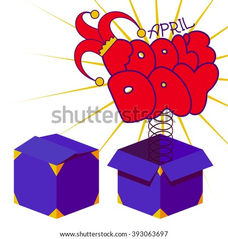April fool's day concept with cartoon hand drawn text in red and yellow jester hat springing out of a box. Flat design vector illustration on white background. - stock vector