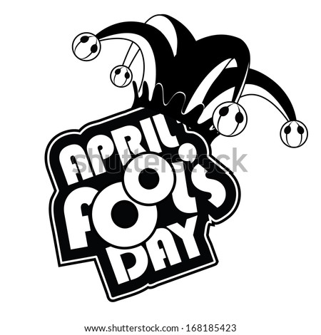 April Fool's Day icon in black and white. EPS 10 vector, grouped for easy editing. No open shapes or paths. - stock vector
