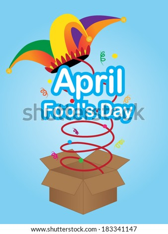 April fool's day sign with jester hat - stock vector
