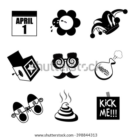 April Fools Day black and white icon collection. EPS 10 vector. - stock vector