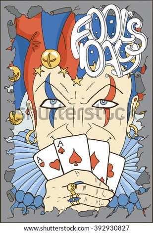 April Fools Day card with smiling Joker and lettering in torn paper border.  Line art hand drawn vector illustration. Graphic portrait of Fool with playing cards. Doodle drawing with text.  - stock vector