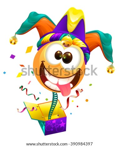 April Fools day. Fools cap smile on spring flies out of box. April Fools joke. Illustration in vector format - stock vector