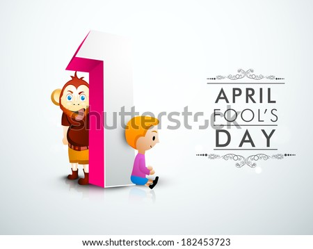April Fools Day funky concept with numeric text one and illustration of monkey, and cute little boy.  - stock vector