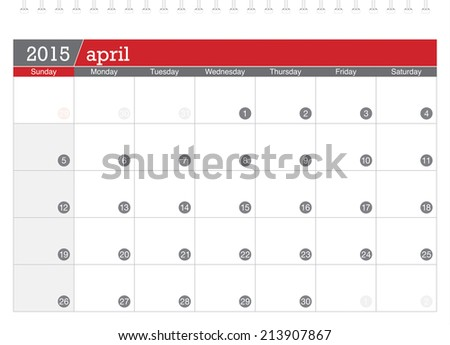 April 2015 planning calendar - stock vector