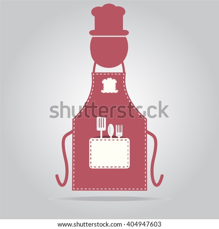 Apron with chef sign, cooking icon sign vector illustration - stock vector