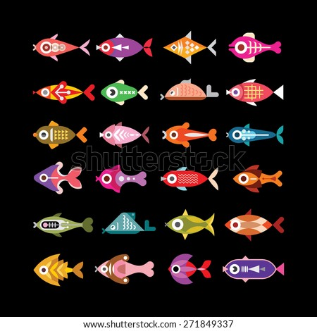 Aquarium and exotic fishes - set of color vector icons. Isolated on black background.   - stock vector