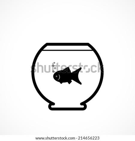 aquarium, flat icon isolated on white background - stock vector