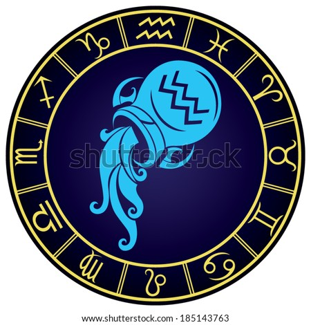 Aquarius zodiac sign in the golden frame. Vector Illustration  - stock vector