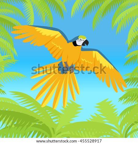 Ara parrot vector. Birds of Amazonian forests in flat design illustration - stock vector
