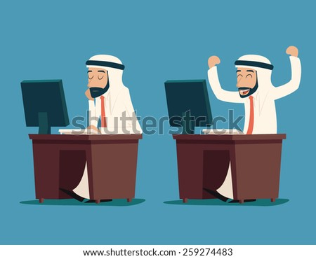 Arab Businessman at Desk Working on Computer Cartoon Characters Icon Stylish Background Retro Design Vector Illustration - stock vector