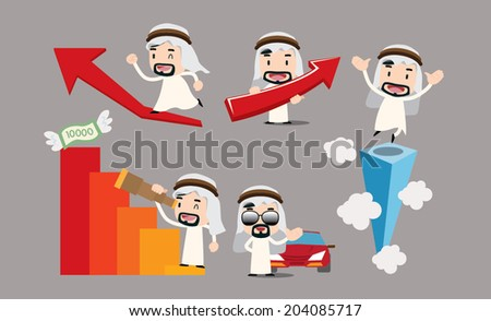 Arab businessman character - climb - stock vector