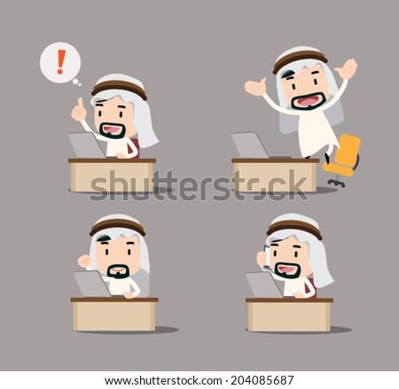 Arab businessman character - desk - stock vector