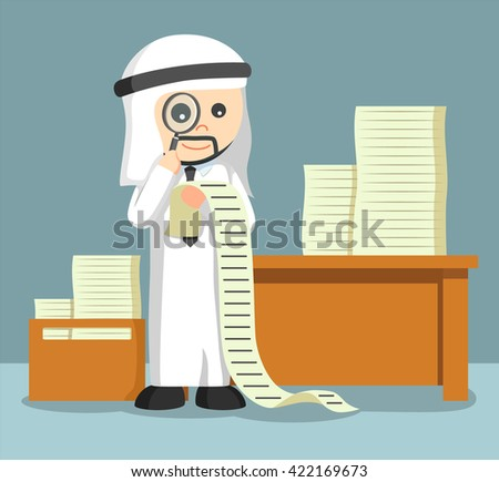 arab businessman using magnify glass for looking his tasks - stock vector