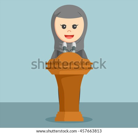 arab businesswoman giving speech - stock vector