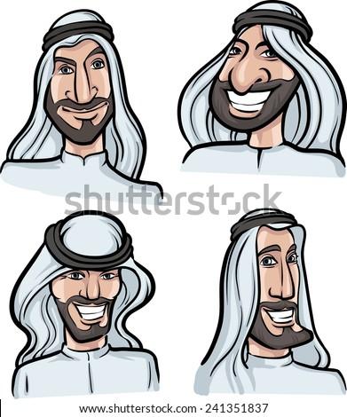 Arab men smiling faces - stock vector