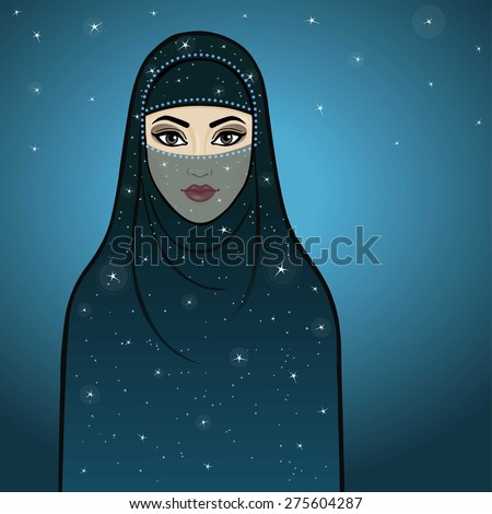 Arab night. The animation girl in a veil. - stock vector
