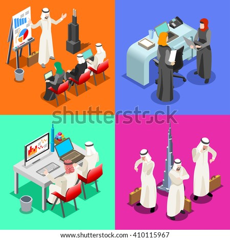 Arab people muslim Businessmen working on Laptop. Middle Eastern Arab desk woman and laptop. Flat 3D Isometric People Collection. Arabian Business Infographic Elements Isolated Vector Illustration. - stock vector