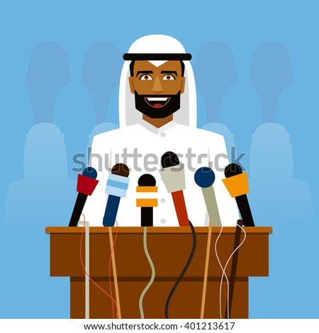 Arab politician speaking before reporters and microphones. - stock vector