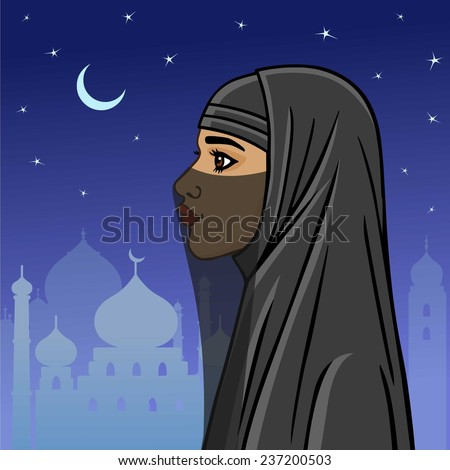 Arab woman in a niqab on a the night city background. - stock vector