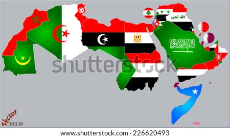 Arab World Map and Flags - stock vector