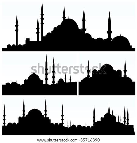 arabesque city silhouettes - stock vector