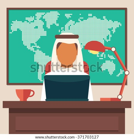 Arabian Businessman Working in The Office, Vector Illustration - stock vector