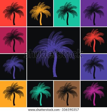 Arabian Dates Palm Tree - Colorful Decorative Tiles - stock vector