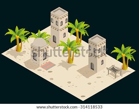 Arabian style artistic building. - stock vector